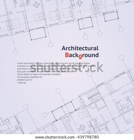 Architectural Pattern Gray Building Plan Silhouette Stock Vector