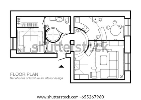 Architectural Plan Of A House Layout The Apartment Top View With Furniture In