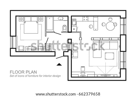 Living room top view drawing images for Retail apartment plans