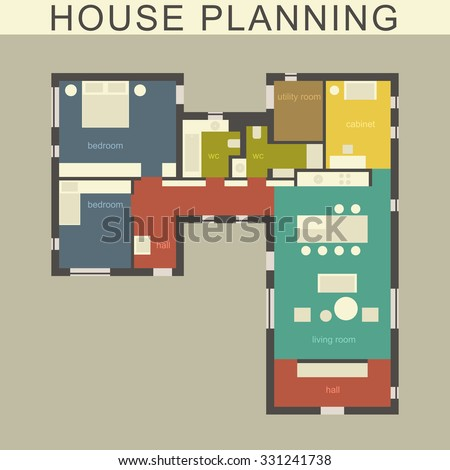 Architectural plan of a house. Vector drawing. - stock vector