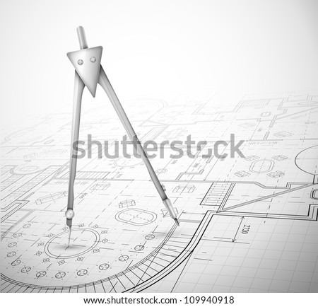 Architectural plan with compass. Eps 10 - stock vector