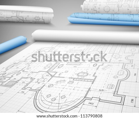 Architectural project on paper. Eps 10 - stock vector
