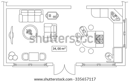 office floor plan design. architectural set of furniture design elements for floor plan premises thin lines icons office