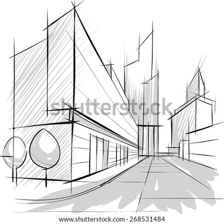 Architectural sketch, drill, building design - stock vector