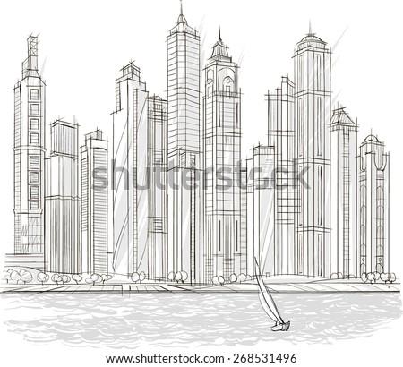 Architectural Sketch Drill Building Design City