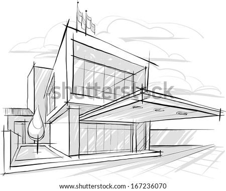 Architectural sketch. Illustration. - stock vector