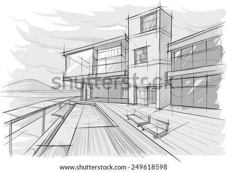 Architectural sketch of building - stock vector