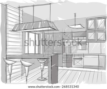 Architectural sketch of home interior, kitchen design - stock vector
