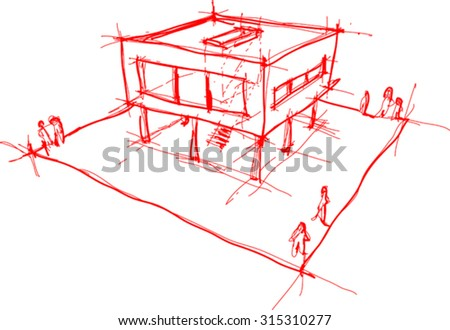 architectural sketch of modern house with no background