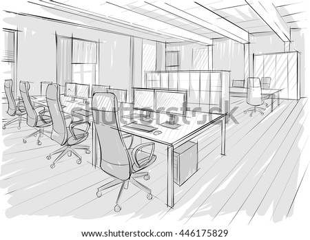 Interior Design Office Sketches architectural sketch office drawing stock vector 446175829