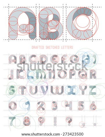 Architectural sketches letters set. Vector blueprint style font alphabet - stock vector