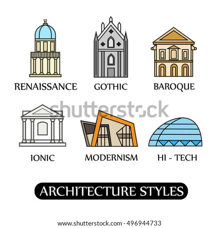 Architectural Styles Set Minimalistic Building Icons Stock Vector ...
