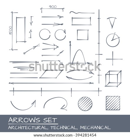 Architectural, Technical and Engineering Arrows. Hand Drawn Set - stock vector