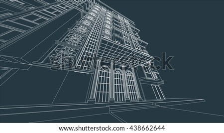 architecture abstract, 3d illustration vector