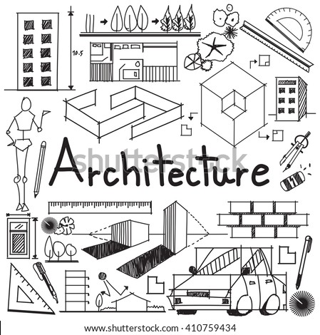 Architecture and architect design profession and building exterior blueprint handwriting doodle tool sign and symbol in isolated background paper for education subject or presentation title (vector)