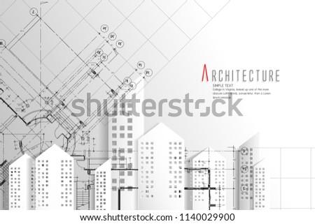 Architecture blueprint backgroundpaper art style stock vector architecture and blueprint backgroundper art style malvernweather Gallery