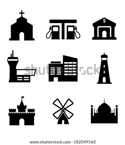 Architecture and buildings icons including a church, garage, bank, airport, commercial, lighthouse, castle, windmill and landmarks, vector illustration - stock vector
