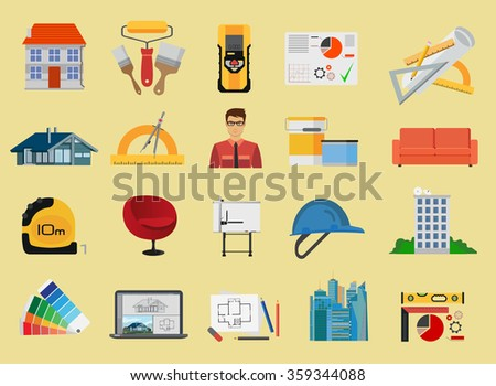 Architecture and Construction flat icons set. Architecture icons set, Architecture icons illustration, Architecture icons image, Architecture flat color icons, Architecture icons isolated. - stock vector