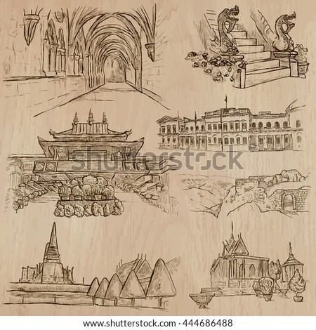 ARCHITECTURE and Famous Places around the World. An hand drawn vector collection.
