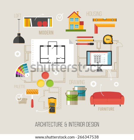 Architecture and interior design concept with architecture icons - stock vector