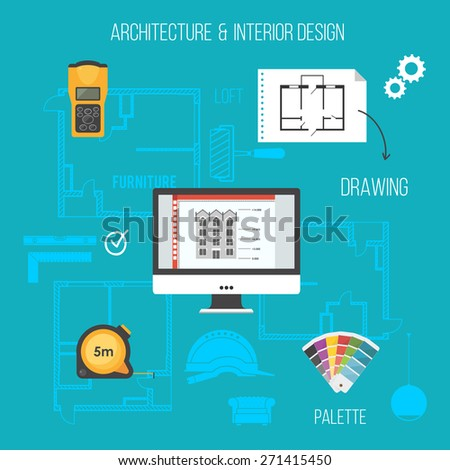 Architecture and interior design concept with construction icons. - stock vector
