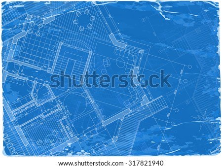 architecture blueprint - 3d house plan / vector illustration / Eps10 - stock vector