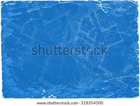 architecture blueprint - 3d house plan / vector illustration / Eps10 - stock vector