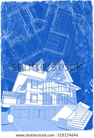 architecture blueprints 3d.  Architecture Architecture Blueprint  3d House  Vector Illustration Eps10 With Architecture Blueprints