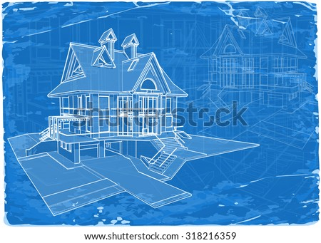 Architecture blueprint 3 d house vector illustration vector de architecture blueprint 3d house vector illustration eps10 malvernweather Choice Image
