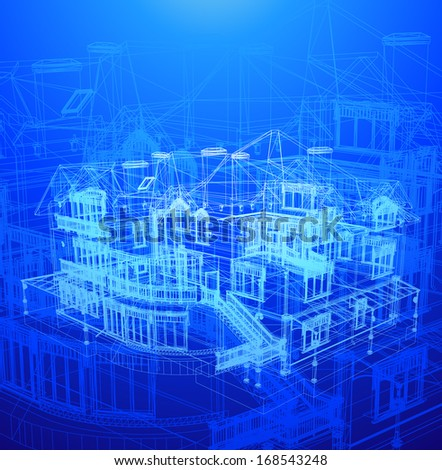 Architecture Blueprint Of A House - stock vector