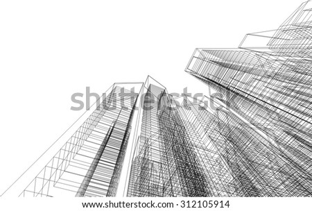 Architecture building. 3d mesh background