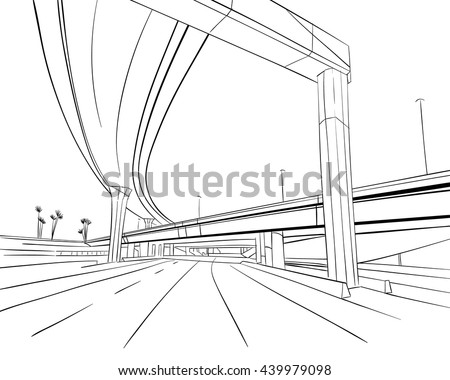 Architecture construction. Bridge hand drawn sketch - stock vector