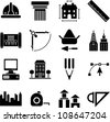 architecture, construction, buildings and tools icons - stock vector