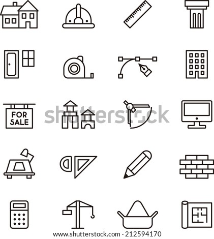 Architecture & Construction icons - stock vector
