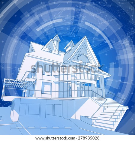 Architecture Design Blueprint House Plan Stock Vector