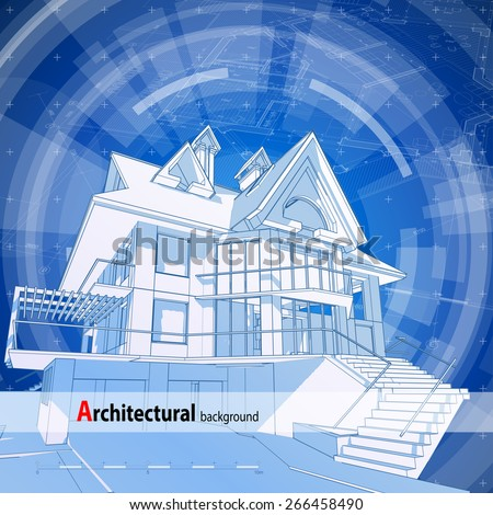 Architecture design: blueprint 3d house, plan & blue technology radial background - vector illustration - stock vector