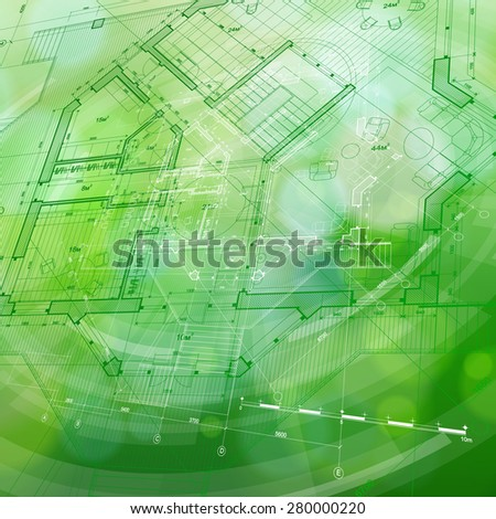 Architecture design. blueprint house plan and blue technology radial background. vector illustration