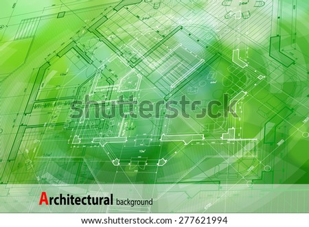 Architecture design: blueprint house plan & green technology radial background - vector illustration - stock vector