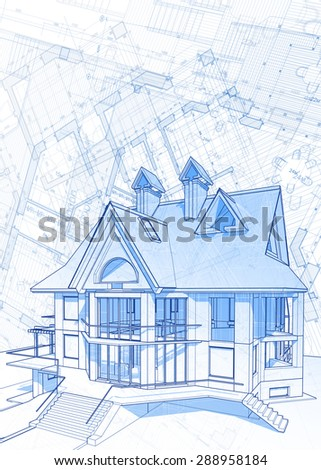 Blueprint House Vector Technical Draw Stock Vector