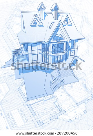 Home Construction Plans Architectural Blueprint Rolls Stock Photo
