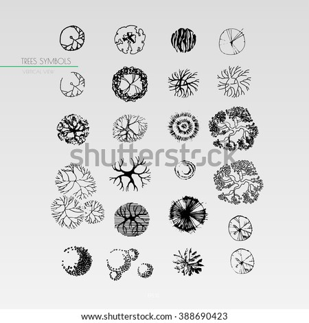 architecture drawing landscape design elements 23 different tree symbols in a top view - Architecture Drawing Of Trees