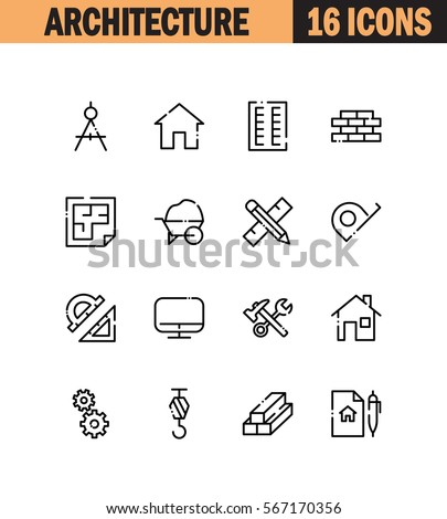 Architecture Flat Icon Set Collection High Stock Vector Royalty