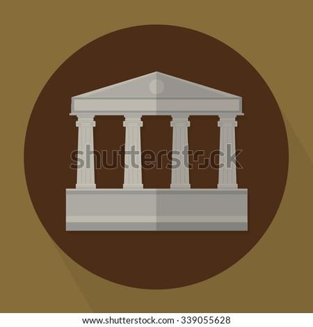Architecture Greek Building Vector Illustration  - stock vector