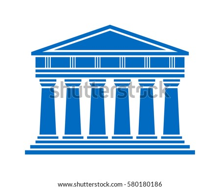 Architecture Greek Temple Icon Isolated On White Background Vector Illustration Flat Design Building