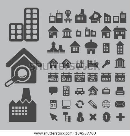 architecture, houses, buildings icons, signs set for website, apps, internet design - stock vector