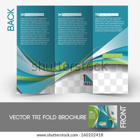 Architecture & Interior Designer Tri-Fold Mock up & Brochure Design  - stock vector