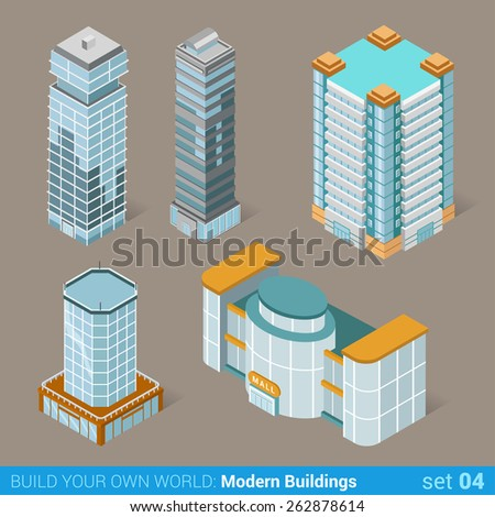 Architecture modern business buildings icon set flat 3d isometric web illustration vector. Business center mall public government and skyscrapers. Build your own world web infographic collection. - stock vector