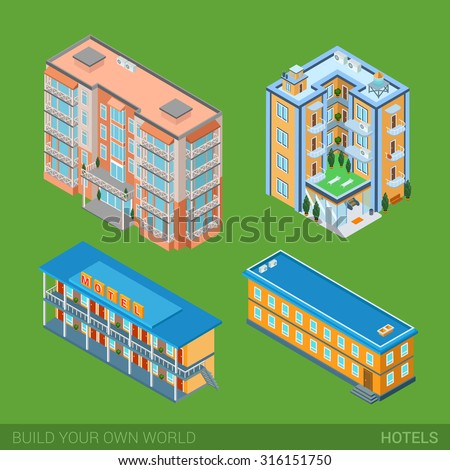 Architecture modern city Hotel buildings icon set flat 3d isometric web illustration vector. Apartment house, hotel, Road motel. Build your own world web infographics collection - stock vector
