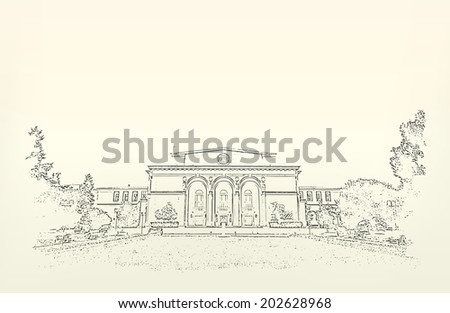 Architecture of building. Sketch. Drawing of  Romanian National Opera. Space for text (EPS10 Vector) - stock vector