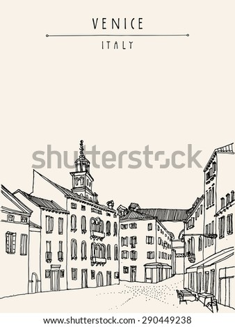 Architecture of Venice. Italy, Europe. Vector artistic freehand illustration. Retro style drawing. Venetian square with a street cafe. Vertical black and white postcard greeting card template - stock vector